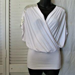 Jolie sequin shoulder white jersey top small